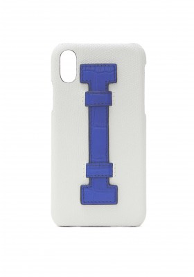 Case Fingers Leather White/Croco Blue