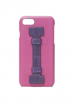 Case Fingers Leather Fucsia/Croco Purple