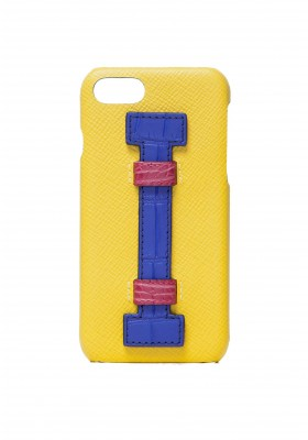 Case Fingers Leather Yellow/Croco Blu-Fucsia