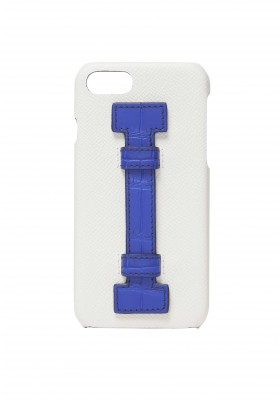 Case Fingers Leather White/Croco Blu