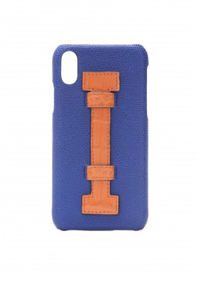 Case Fingers Leather Blue/Croco Orange