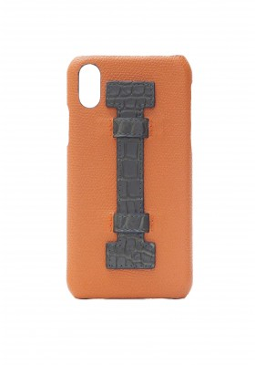 Case Fingers Leather Orange/Croco Green